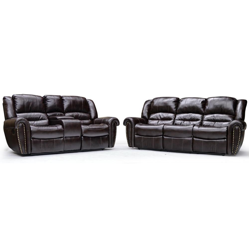 Nailhead Round Arm Recliner Sofa & Loveseat - 9596