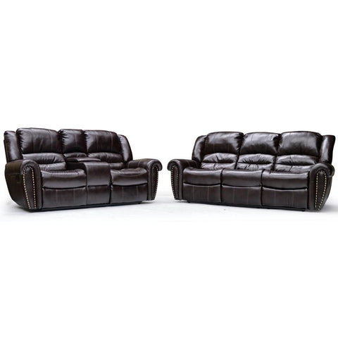Nailhead Trimmed Recliner Sofa & Loveseat - 9596