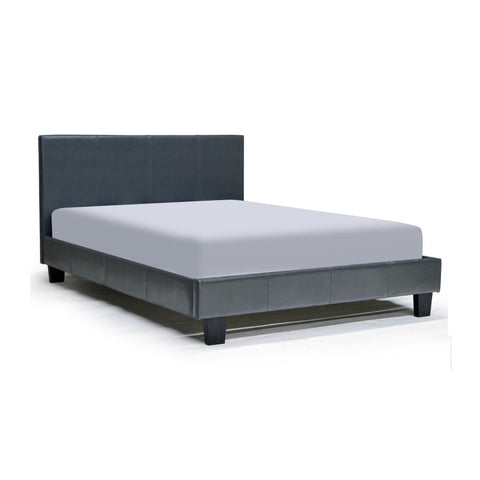Leather Looking Platform Grey Double Bed - Volt