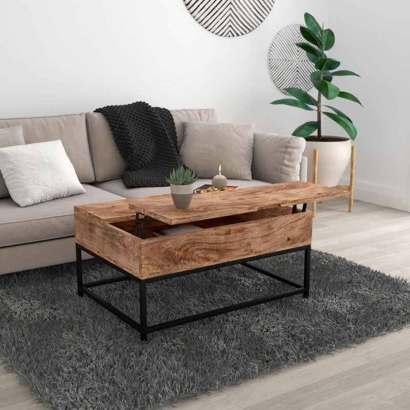 Edmonton Furniture Store | Natural Finish Solid Wood Lift Up Coffee Table - Ojas