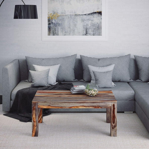 Edmonton Furniture Store | Grey Modern Rustic Solid Wood Coffee Table - Idris