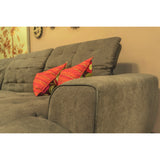 Edmonton Furniture Store | Dark Grey Fabric Power Recliner Sectional - D3012