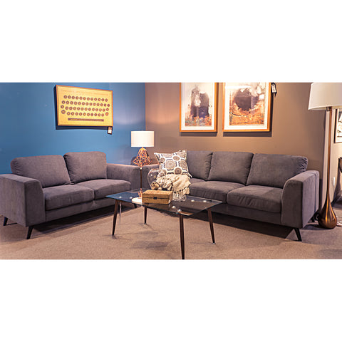Edmonton Furniture Store | Contemporary Mid Century Modern Grey Fabric Sofa Set - 3014