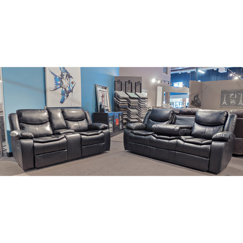 Edmonton Furniture Store | Black Leather Aire Reclining  Sofa Set - 30358