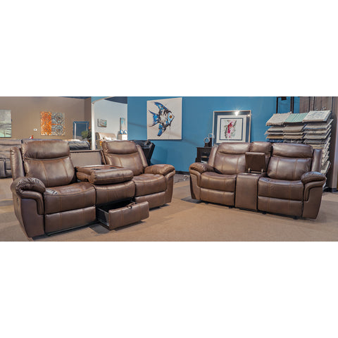 Edmonton Furniture Store | Brown Leather Aire Reclining Glider Sofa Set - 30463