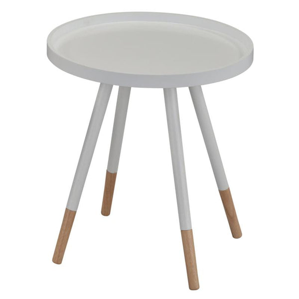 White Color Bentwood Top Round End Table
