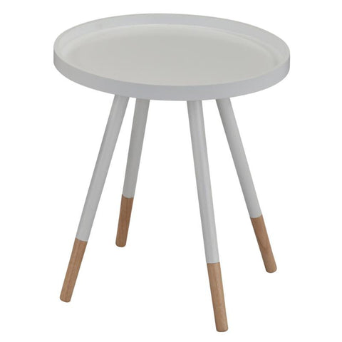 White Color Bentwood Top Round End Table - Hue