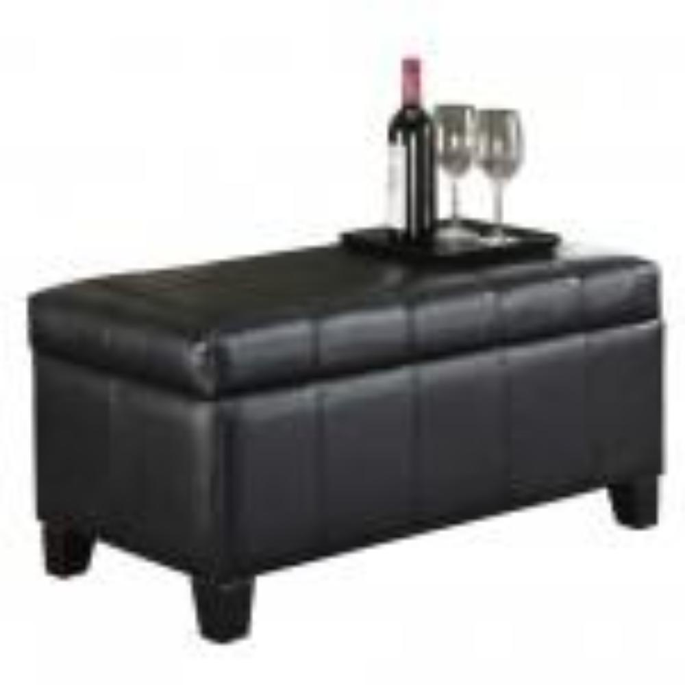 Leather Looking Storage Bench in Black - Bella