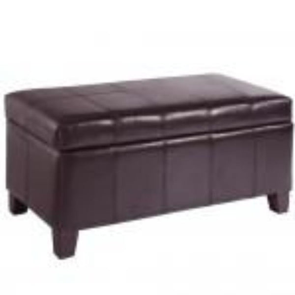 Leather Looking Storage Bench in Brown - Bella