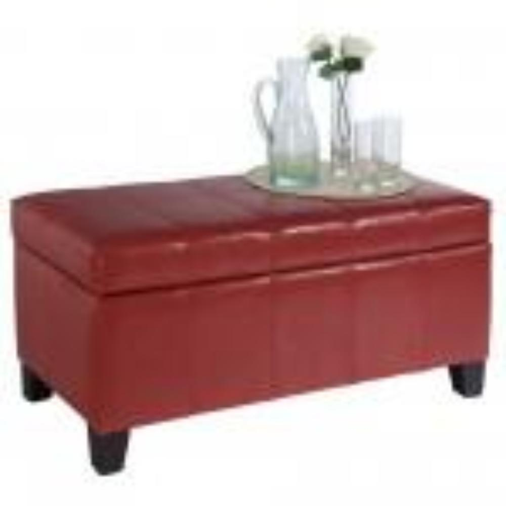 Leather Looking Storage Bench in Red - Bella