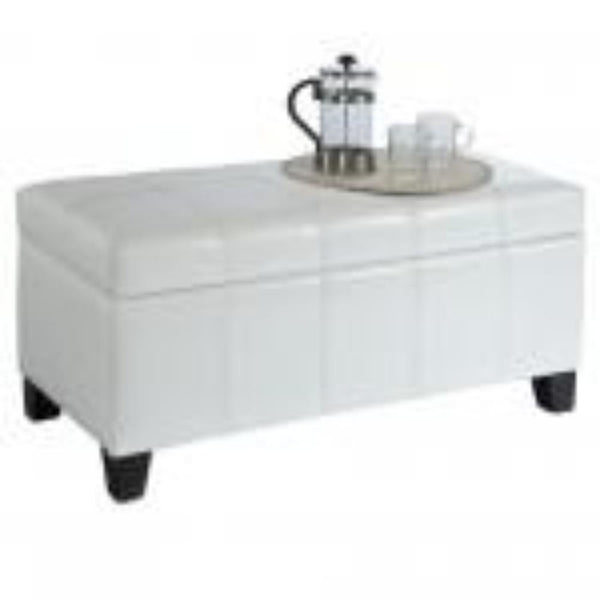 Leather Looking Storage Bench in White - Bella