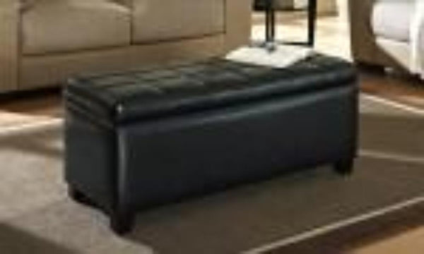 Leather Looking Storage Bench in Black - Abby