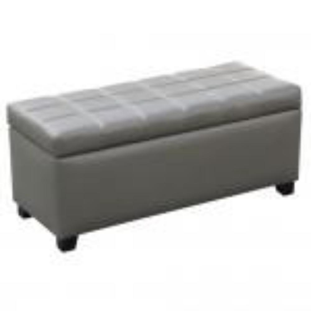 Leather Looking Storage Bench in Grey - Abby