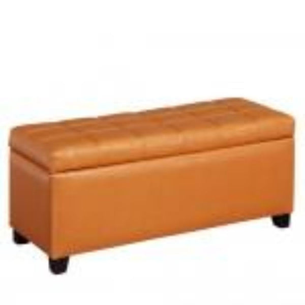 Leather Looking Storage Bench in Orange - Abby