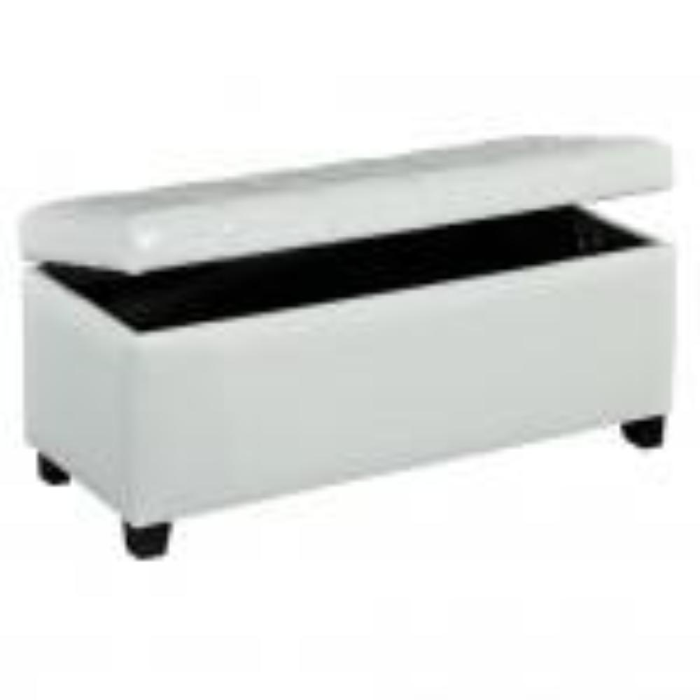 Leather Looking Storage Bench in White - Abby