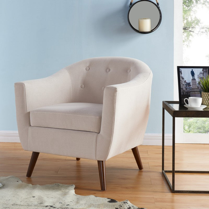 Bucket Seat Beige Accent Chair - Amber