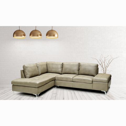 LHF Mushroom Color Leather Gel Sectional  - 7168