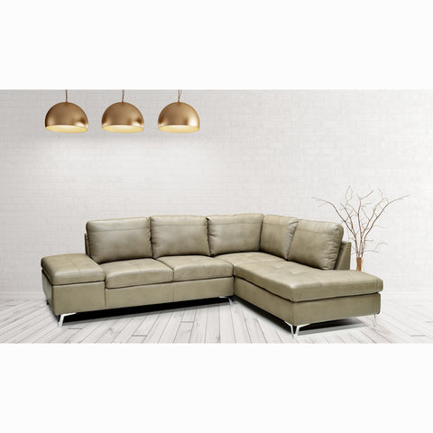 Edmonton Furniture Store | Leather Mushroom Color Sectional with Storage Arm Rest - Leather Aire Sectional 7168