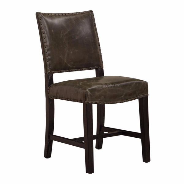 Graphite Leather Dining Chair - Clay