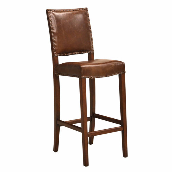 Brown Leather Pub Chair - Clay