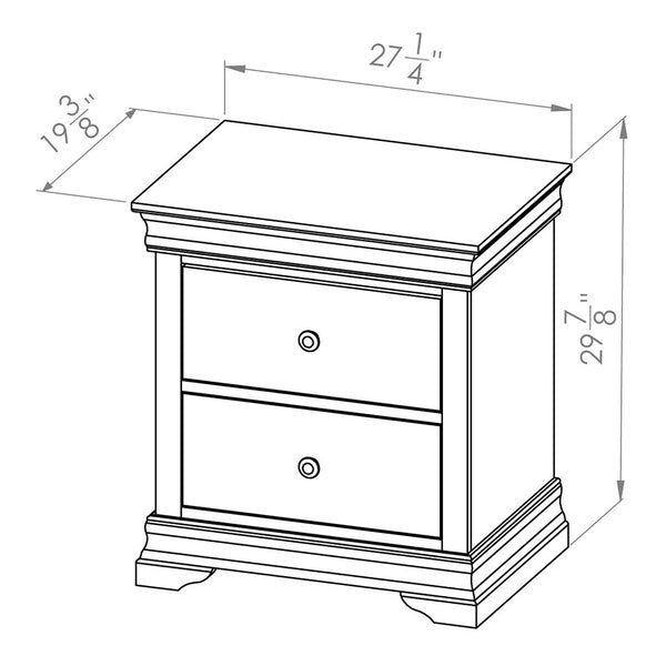 Solid Wood Canadian Made 2 Drawer Nightstand- Bayshore