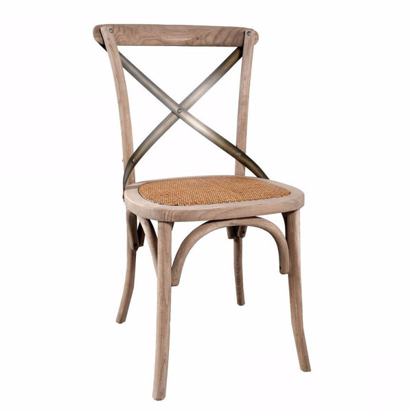 Natural Rustic Dining Chair - Cross Back