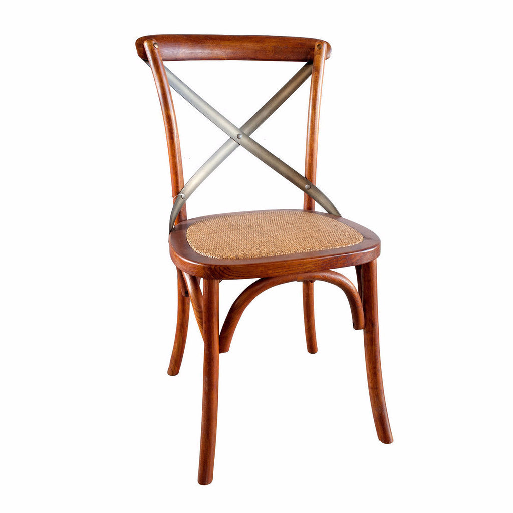 Brown Dining Chair -  Cross Back