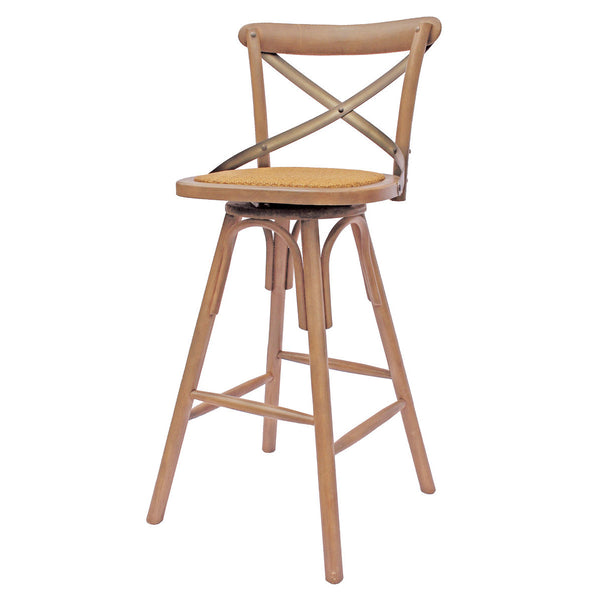 "Edmonton Furniture Store | Solid Wood 24"" Bar Stool - Cross Back"