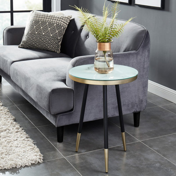 Edmonton Furniture Store | White Marble Looking End Table - Cordelia