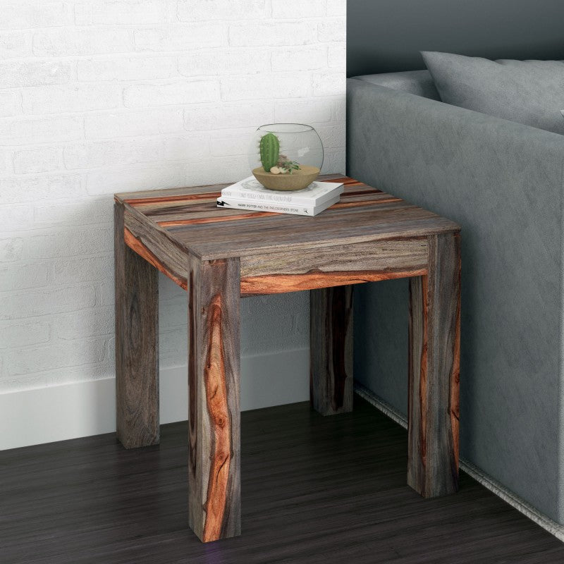 Edmonton Furniture Store | Grey Modern Rustic Solid Wood End Table - Idris