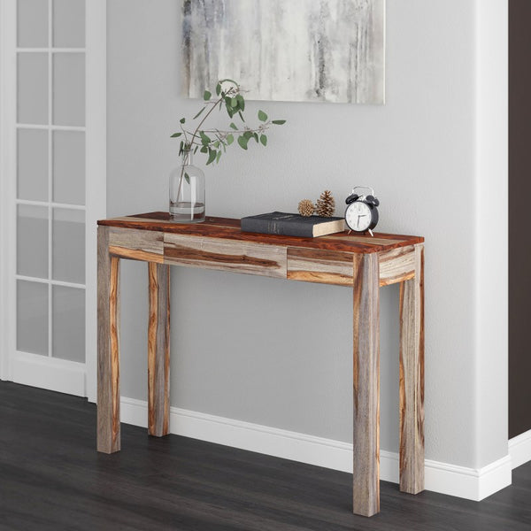 Edmonton Furniture Store | Grey Modern Rustic Solid Wood Sofa Table - Idris
