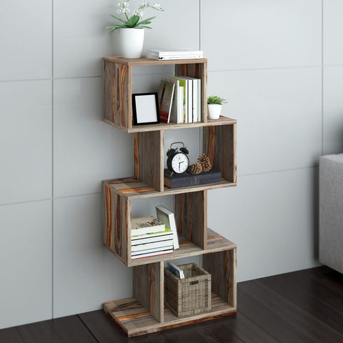 Edmonton Furniture Store | Grey Modern Rustic Solid Wood BookShelf - Idris