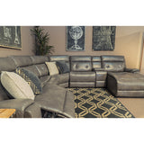 Edmonton Furniture Store | Grey Leather Aire Power Recliner and Chaise Sectional - 5061