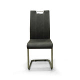 Grey Color Dining Chair with contrast stitches- 5178