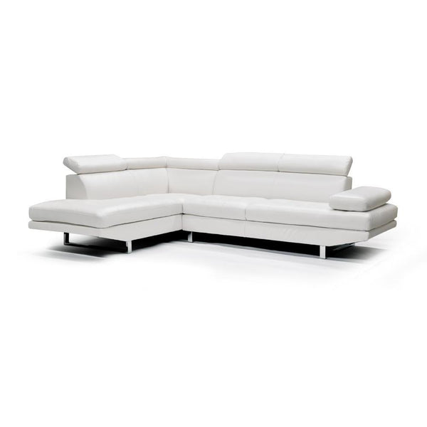 LHF White Bonded Leather Sectional - 9782