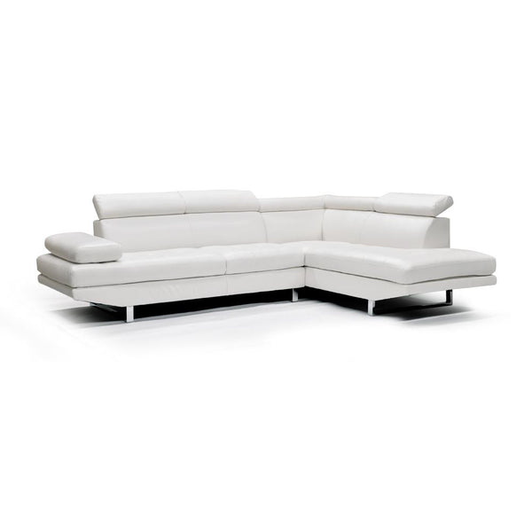 Bonded Leather Sectional - 9782 White