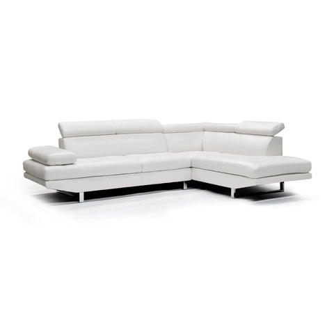 Edmonton Furniture Store | RHF White Bonded Leather Sectional - 9782