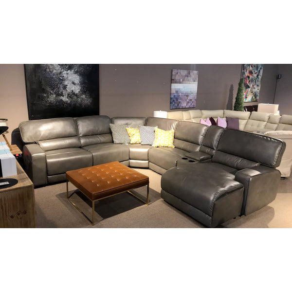 Grey Leather Gel Recliner Sectional with Chaise - 9906