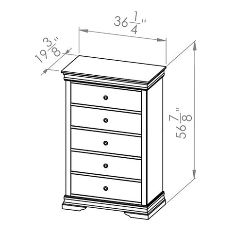 Solid Wood Canadian Made 5 Drawer Chest- Bayshore