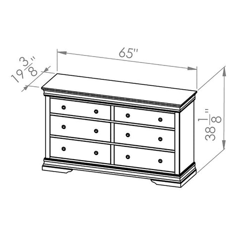 Solid Wood Canadian Made 6 Drawer Dresser- Bayshore