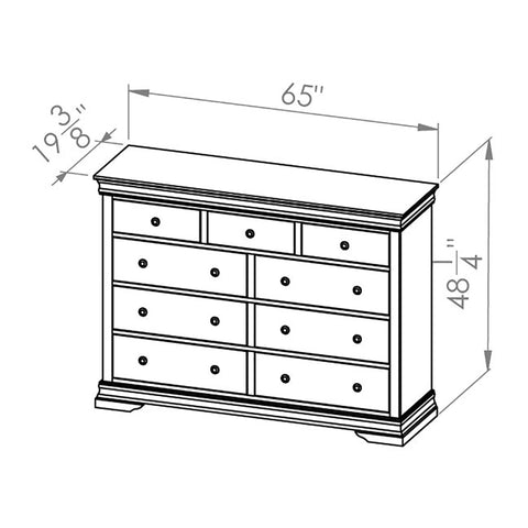 Solid Wood Canadian Made 9 Drawer Mule Dresser- Bayshore