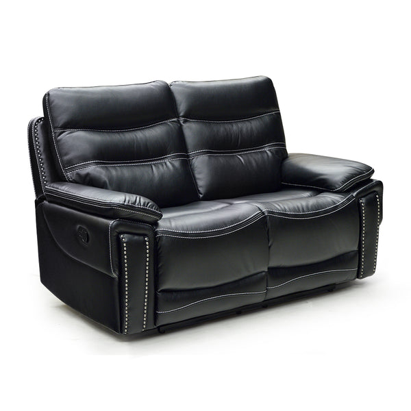 black color leather air reclining loveseat with baseball stitch