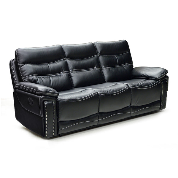 black color leather air reclining sofa with baseball stitch