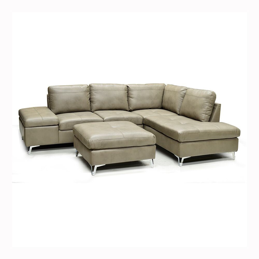 Leather Gel Sectional Sofa w/ Ottoman - 7168