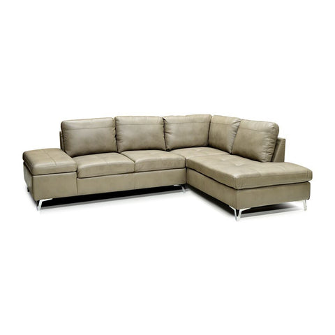 RHF Mushroom Color Leather Gel Sectional  - 7168