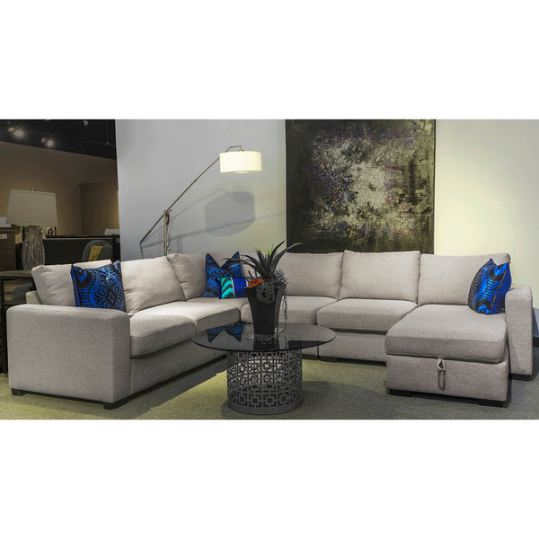 Edmonton Furniture Store | Light Grey Fabric U-Shape Track Arm Sectional Sofa with Storage Chaise - 7257