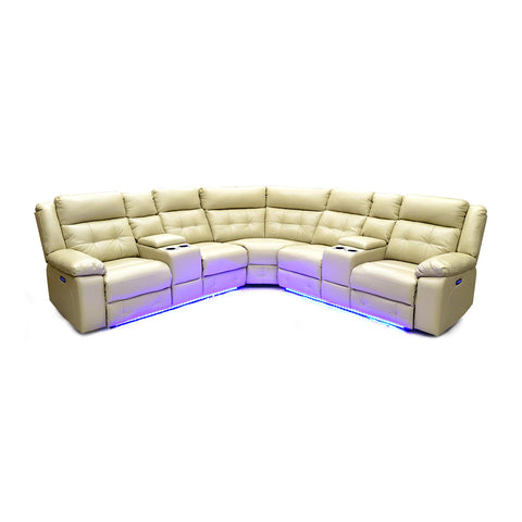 Leather Aire Power Recliner Sectional w/ LED Lights- 7283