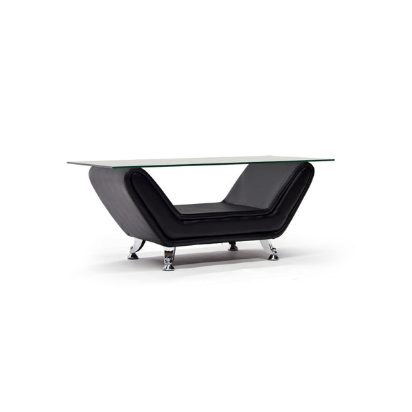 Black Bonded Leather Coffee Table - 8021 Black