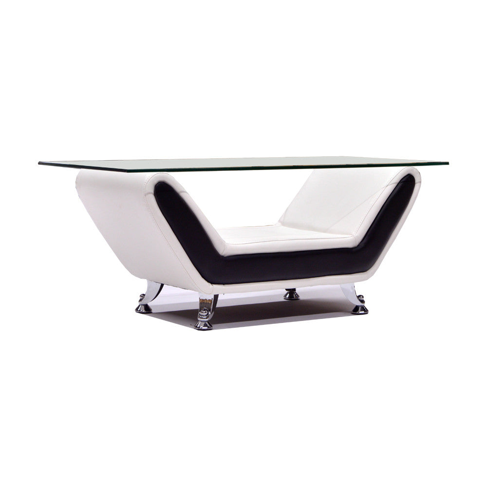 White Bonded Leather Coffee Table - 8021