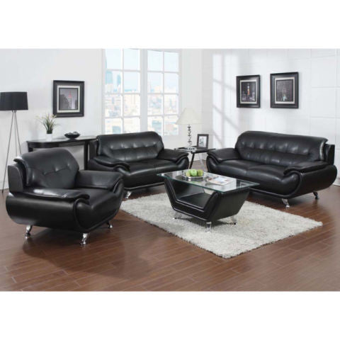Sofa Loveseat Chair and Coffee Table - 8021 Black
